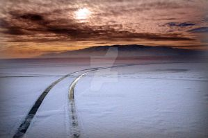 Icy Tracks on Utah Lake Ice by houstonryan