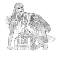 the twins inspect a building by AlloyRabbit
