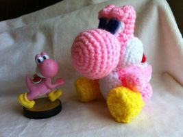 Pink Crochet Yoshi from Yoshi's Woolly World SALE by OctopusSquishCrochet