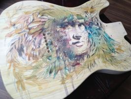 Work in progress on wooden guitar by Carnegriff