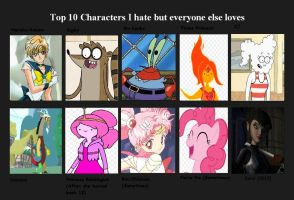 Top 10 characters I hate but everyone else loves by cupcakeforever18