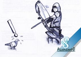 GreenArrow and the pigeon (pen) - Aliensanfo by aliensanfo