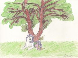 Resting under the tree. by TheOmNom