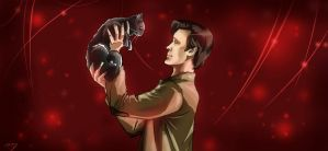 11th Doctor and a cat by Tote-Dietrich