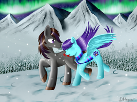 Odd Logic and Violet Dream, Christmas snow by Violetdreamzz