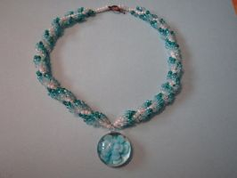 Spiral Beaded neckles with flower amulet by Nishii55