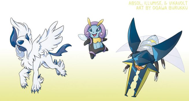Pokemon Drawz Day 7: Absol Illumise and Vikavolt by OgawaBurukku
