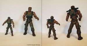 3D printed action hero painted large and small by hauke3000