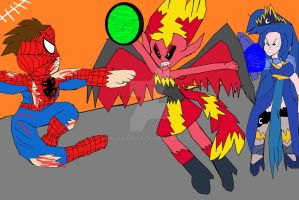 Spider-Man and Luna vs Sunset Shimmer (Coloured) by alvaxerox