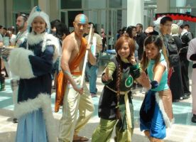 Princess Yue, Aang, Tai Lee and Korr at AX 2013 by trivto