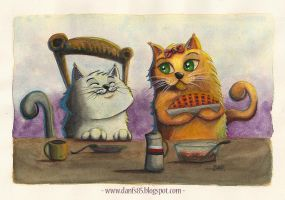 Feline Breakfast by danfs85