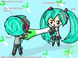 Miku, Mikuo and the Leek by Cutiecat1001