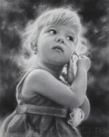 Black and white portrait drawing little girl by Drawing-Portraits