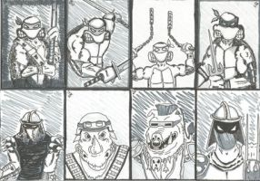 Mirage TMNT sketch cards by kylemulsow