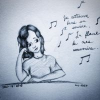 Another Self Sketch - Listening to Music by littlewaysoul