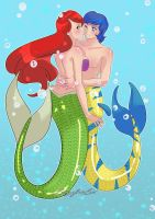 Ariel and Flounder : Together forever by Pronon1990