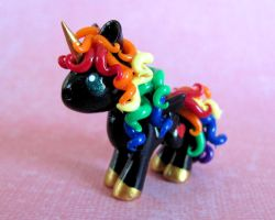 Black Rainbow Pony by DragonsAndBeasties