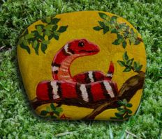 Red Snake - Rock Painting by Annamoon77
