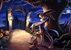 Witch Lola Bunny and Pussyfoot by glitcher