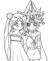 Lineart: Atem x Serenity by The-PirateQueen