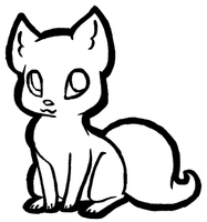 Free Simple Kitten Lineart by PrincessentiaFarms