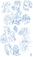 Random Pony Sketchdump by WhiteDiamondsLtd