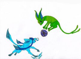 Glaceon VS Espeon by JellyRaven