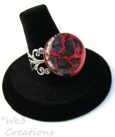 Hot Pink and Black Marble Ring by kelleejm1