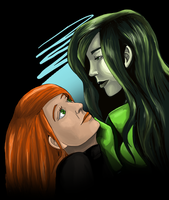 Shego and Kim Possible by angstyporcupine