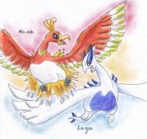 Ho-oh Lugia by kanineious