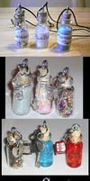 Tiny bottle necklace charms by Mari-Kyomo