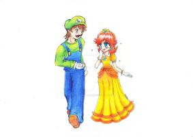 Collab: Luigi and Daisy by PaperLillie