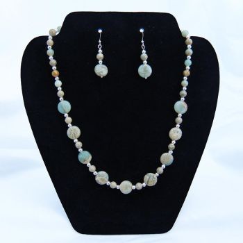 Aqua Terra Jasper and Silver Necklace and Earrings by Cillana