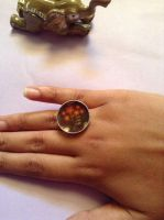 Brown and Floral Handmade Ring by uncreativepanda