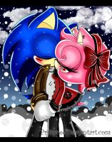 SonAmy-Our Winter Kiss by prittyred