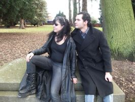 gothic models sitting by lexy-stock
