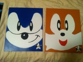 Sonic and Tails canvas' by RealKaBoomArt