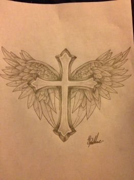 Cross With WIngs Tattoo Design by ProTxtics