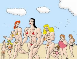 Verna and her girls in a beach day by loenror