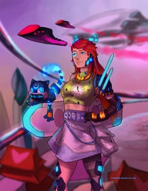 Futuristic Hipster City Girl (Wonderland) by CerboPhix