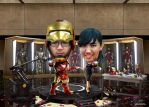 Nico and Agnes Wedding Iron Man Premium Caricature by Reinsstudio