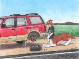 'Taur Changing a Tire by wannabemustangjockey