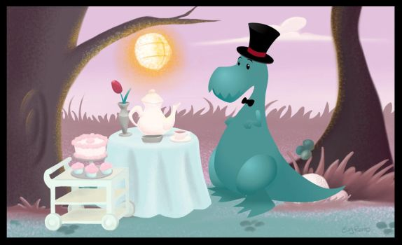 Tea Rex Time by Dharma-Romo