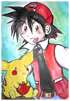 Pikachu and Red. by Rewel