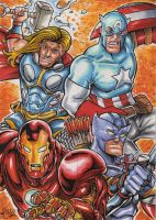 AVENGERS 4 CARD PUZZLE ACEO SET by ChrisMcJunkin