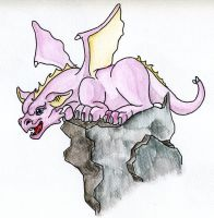 Pink baby dragon watercolor by Tallonis