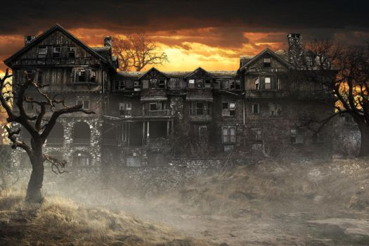 Haunted House at Sunset by fervalosious
