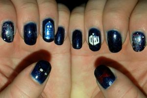 TARDIS Nail Art by quixii