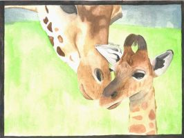 Giraffe and baby by Bexter-TheLil-Ferret