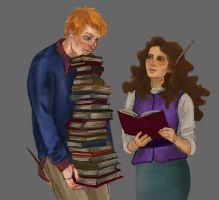 Ron and Hermione by RayeLian